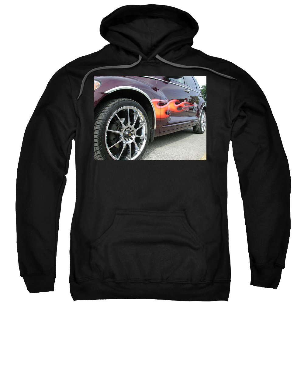 Pt Cruiser Sweatshirt featuring the photograph Pt With Flames by Thomas Woolworth