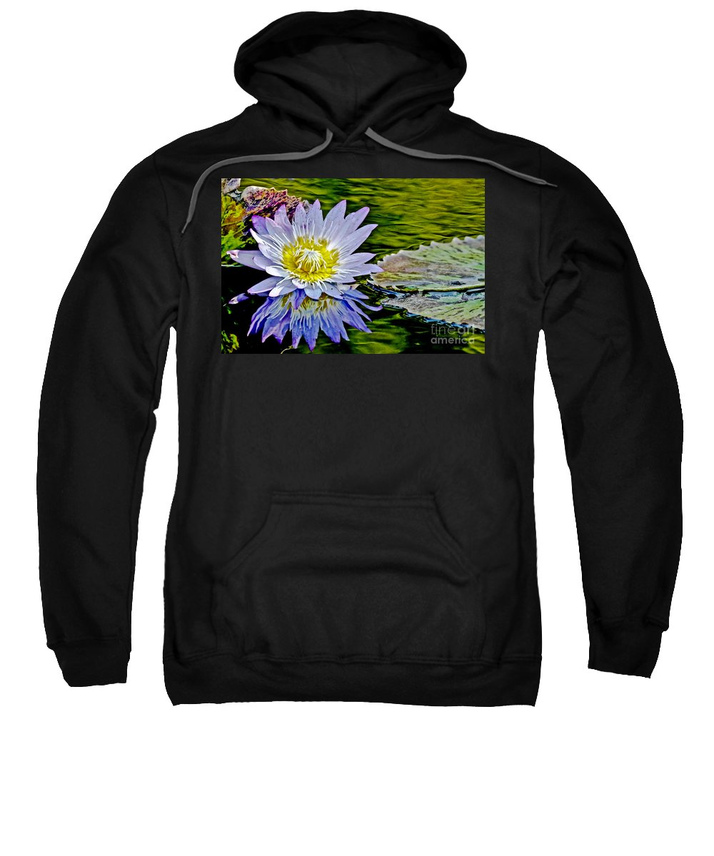 Greeting Card Sweatshirt featuring the photograph Purple Water Lily by Carol F Austin