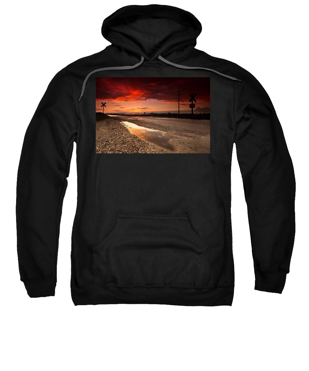 Rail Sweatshirt featuring the photograph Railroad Reflection by Cale Best