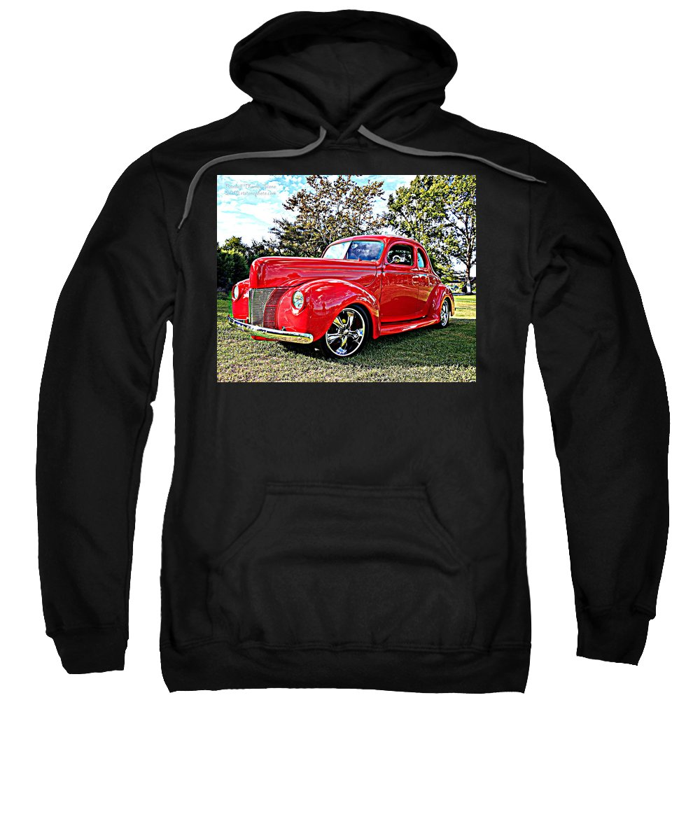 Ford Sweatshirt featuring the photograph Red 1940 Ford Deluxe Coupe by Randall Thomas Stone