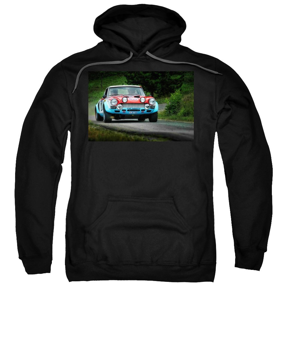 Car Sweatshirt featuring the photograph Red And Blue Fiat Abarth by Alain De Maximy