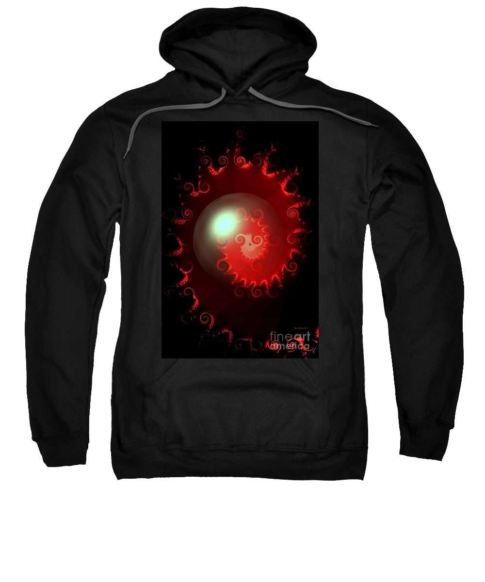 Red Sweatshirt featuring the digital art Red Nautilus by Maria Urso