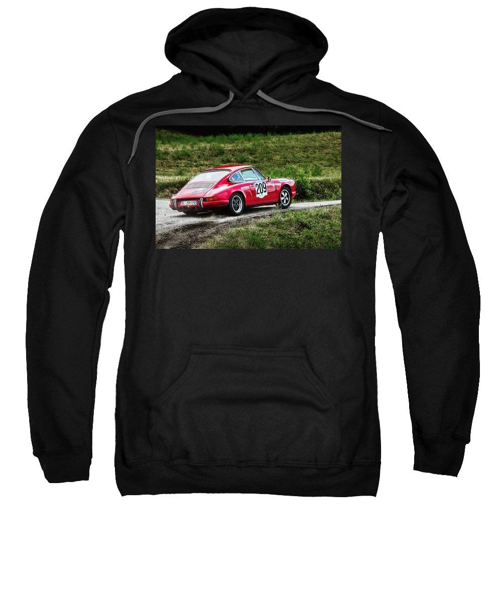 Car Sweatshirt featuring the photograph Red Porsche Running Away by Alain De Maximy