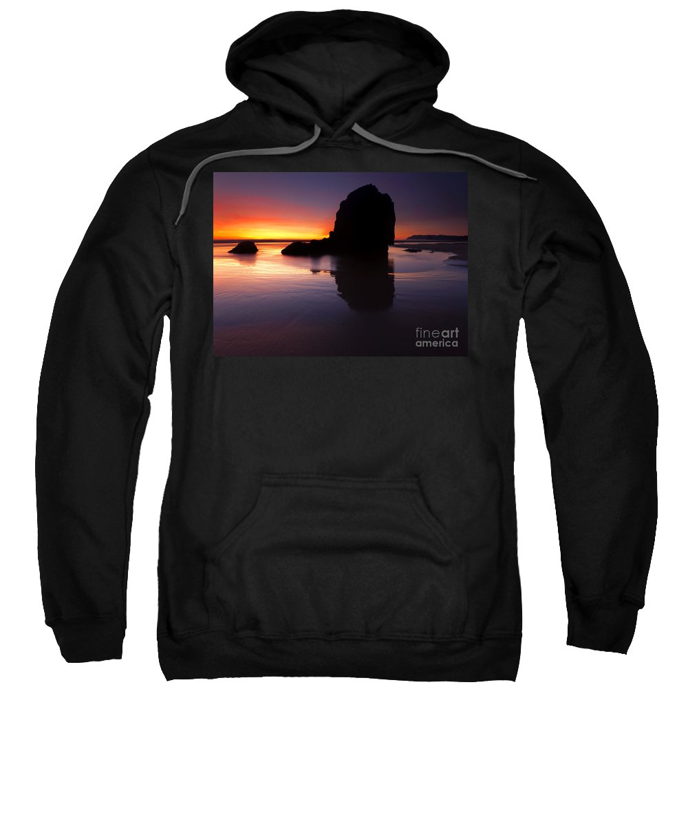 Cannon Beach Sweatshirt featuring the photograph Reflections Of The Tides by Mike Dawson