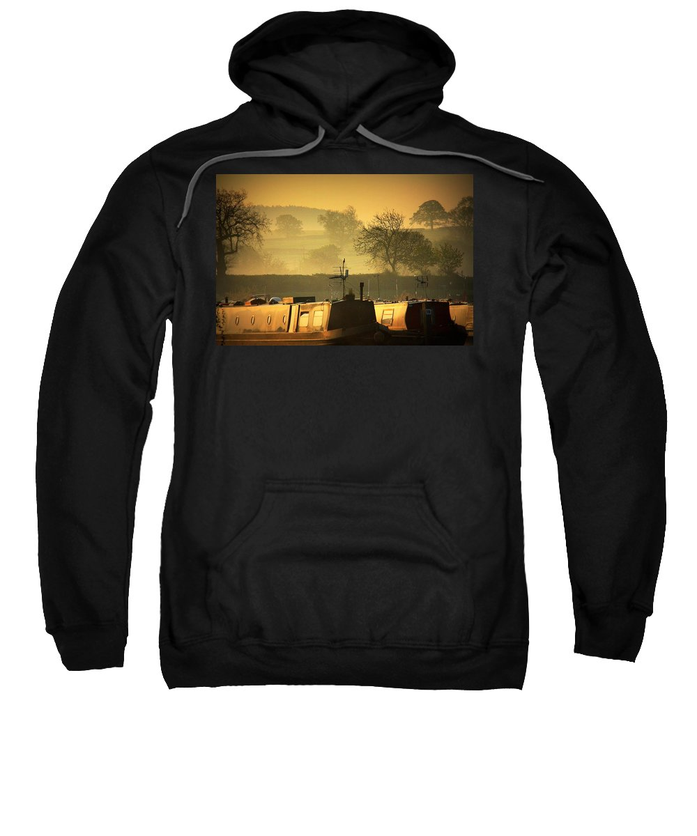Inland Waterways Sweatshirt featuring the photograph Resting Narrowboats by Linsey Williams
