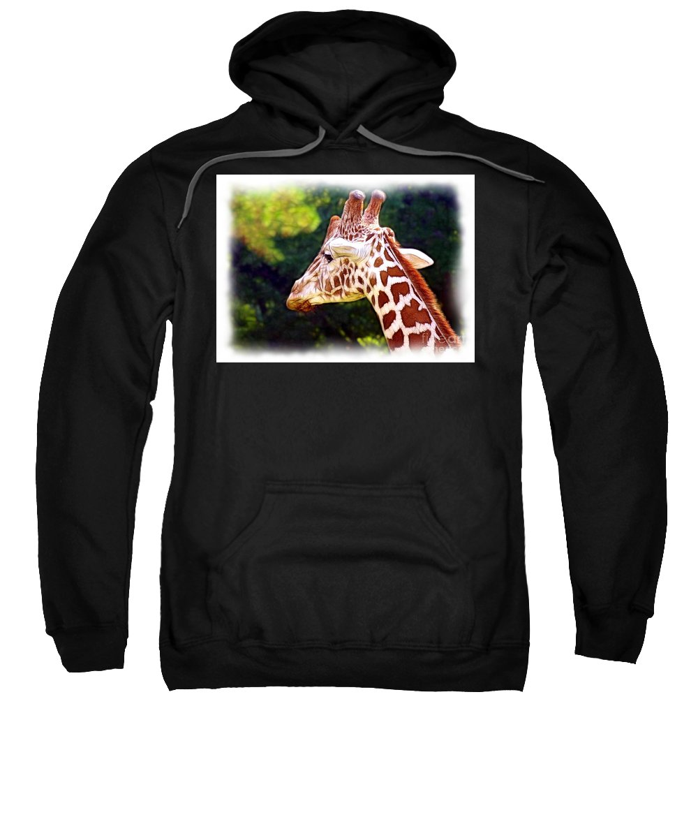 Reticulated Sweatshirt featuring the photograph Reticulated Giraffe by Judi Bagwell