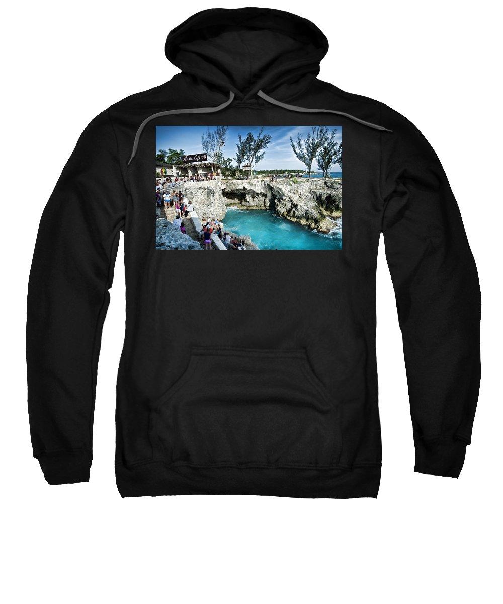 Jamaica Sweatshirt featuring the photograph Ricks Cafe by Sheri Bartoszek