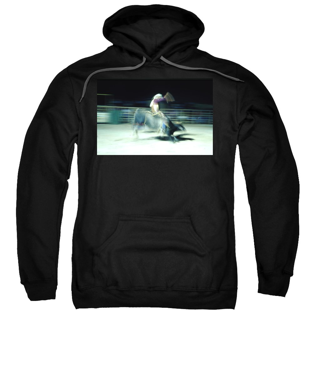 Rodeo Sweatshirt featuring the photograph Ride Him Cowboy by Robert Caddy