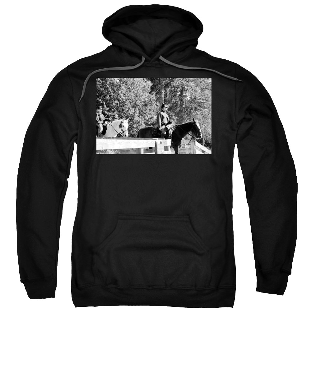 Usa Sweatshirt featuring the photograph Riding Soldiers B And W II by LeeAnn McLaneGoetz McLaneGoetzStudioLLCcom