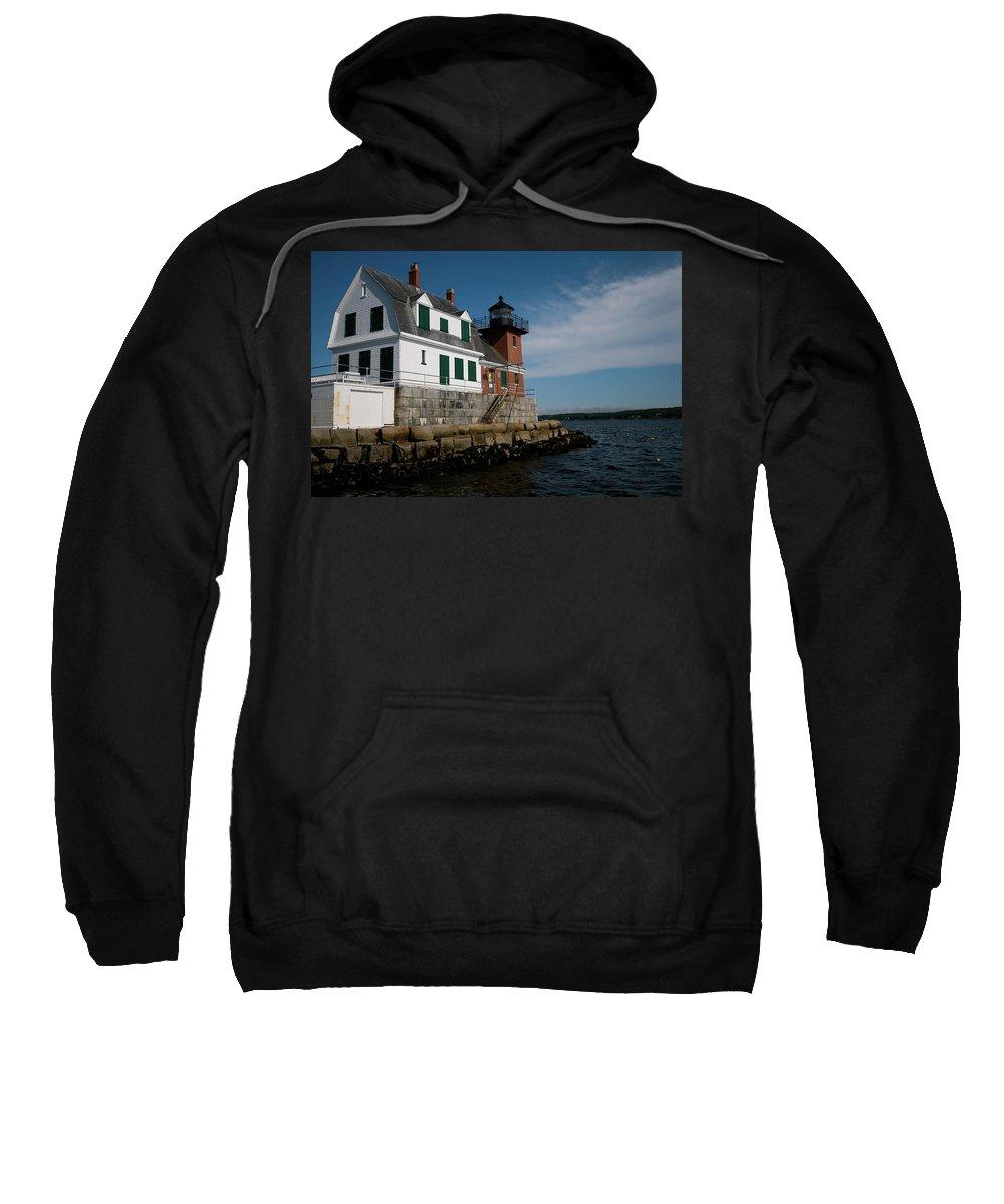 rockland Break Light Sweatshirt featuring the photograph Rockland Break Light by Paul Mangold