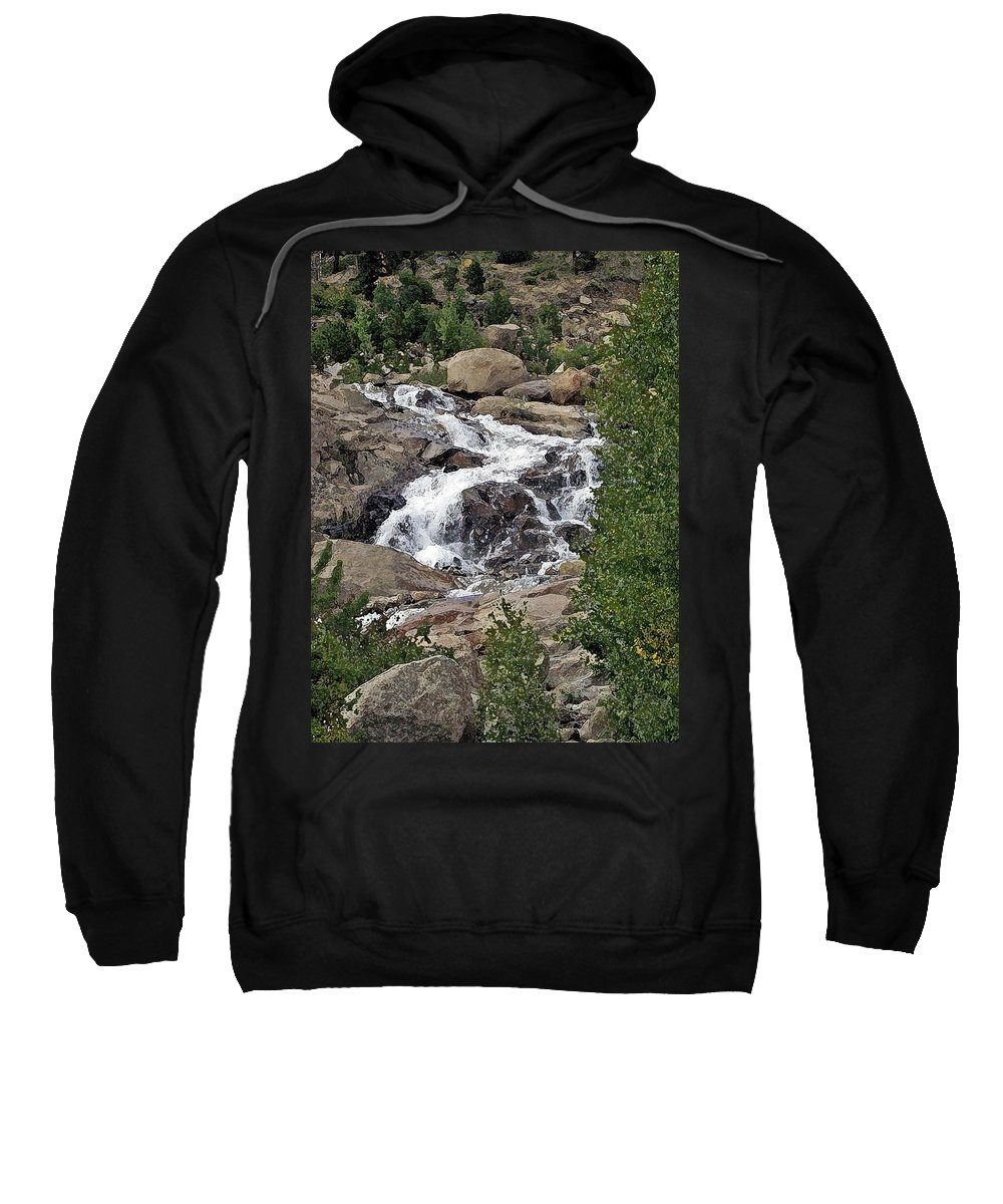 Water Sweatshirt featuring the photograph Rocky Mountain Falls by Brenda Hagenson