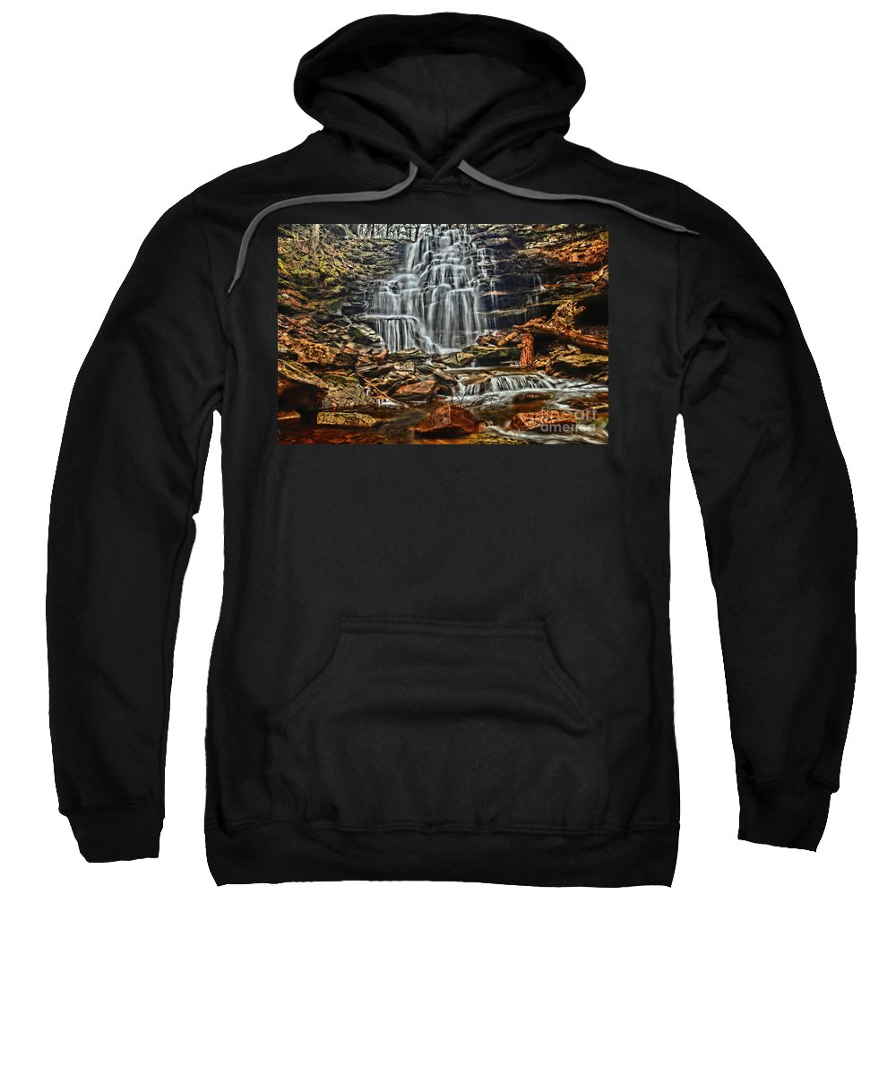 Waterfalls Sweatshirt featuring the photograph Rocky Step Cascade by Adam Jewell