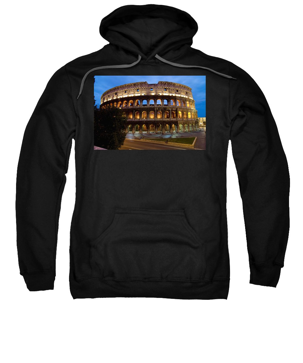 Italy Sweatshirt featuring the photograph Rome Colosseum Dusk by Axiom Photographic