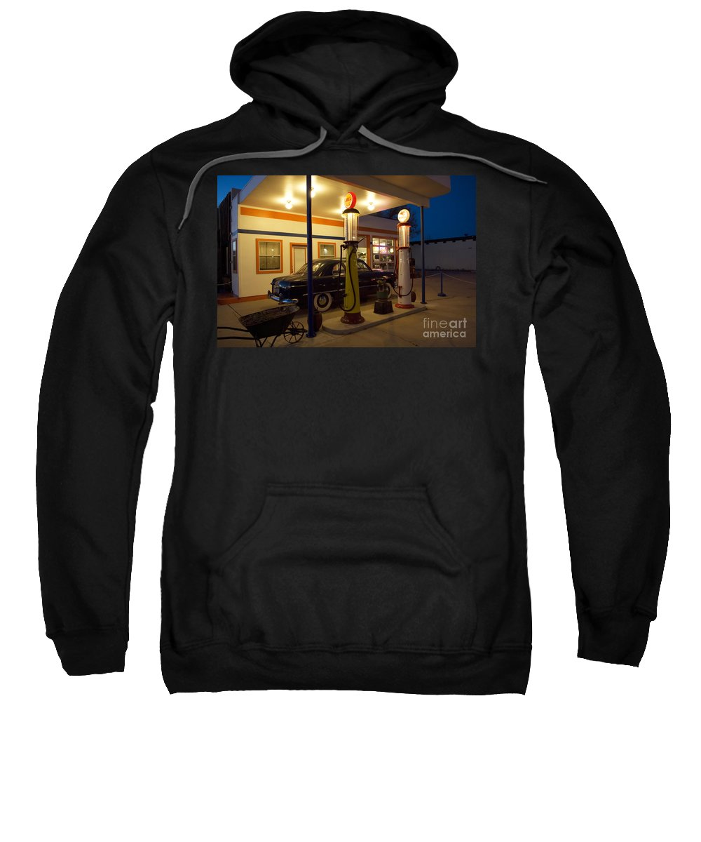 Flames Sweatshirt featuring the photograph Route 66 Garage At Night by Bob Christopher