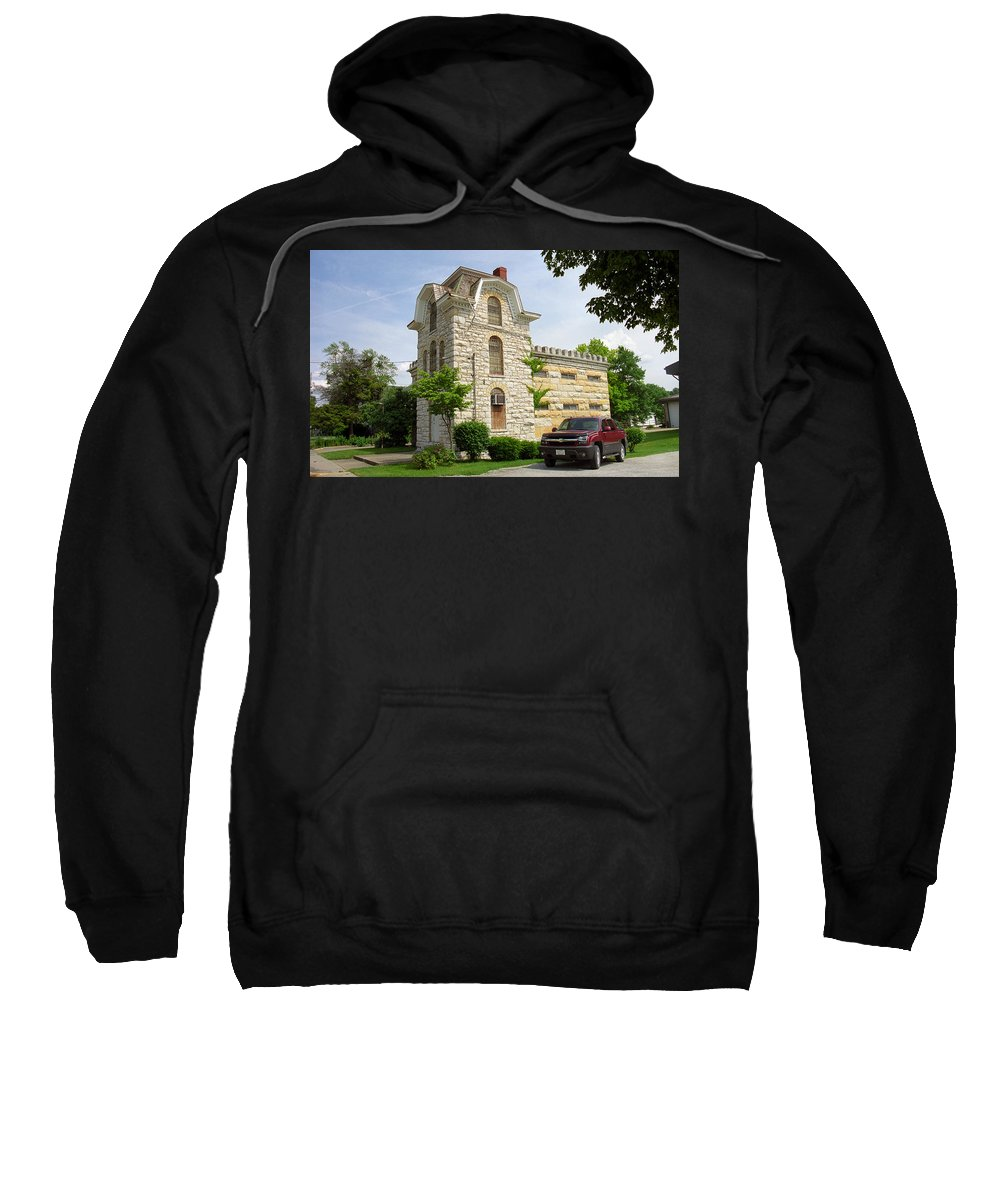 66 Sweatshirt featuring the photograph Route 66 - Macoupin County Jail by Frank Romeo
