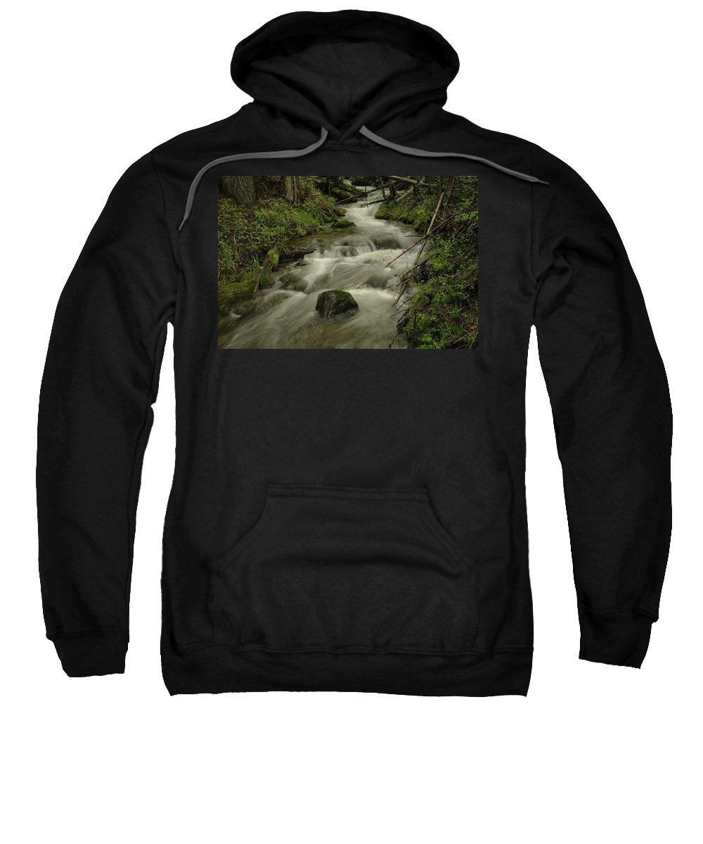 Water Sweatshirt featuring the photograph Running Over The Rocks  by Jeff Swan