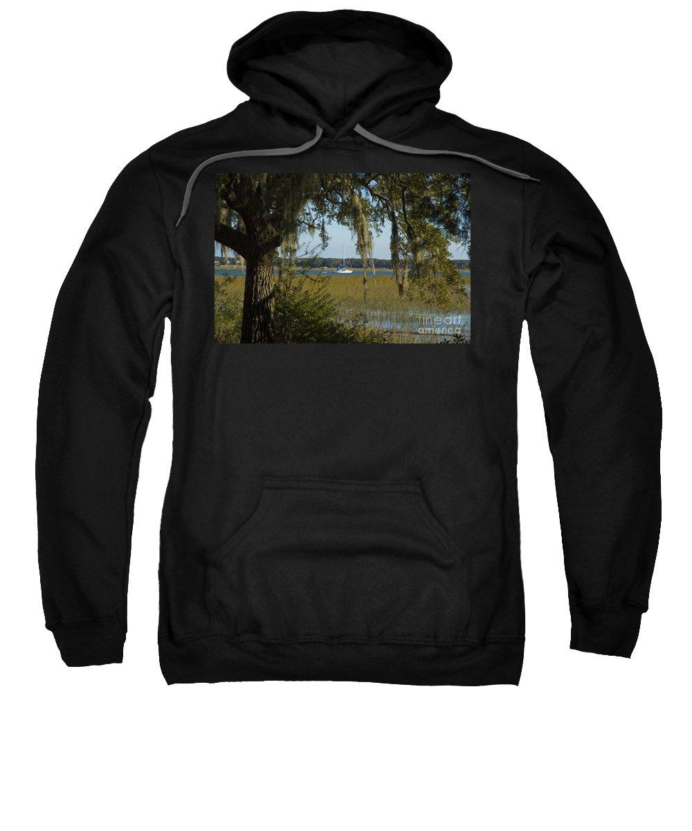 South Carolina Sweatshirt featuring the photograph Sailboat And Moss by Tim Mulina