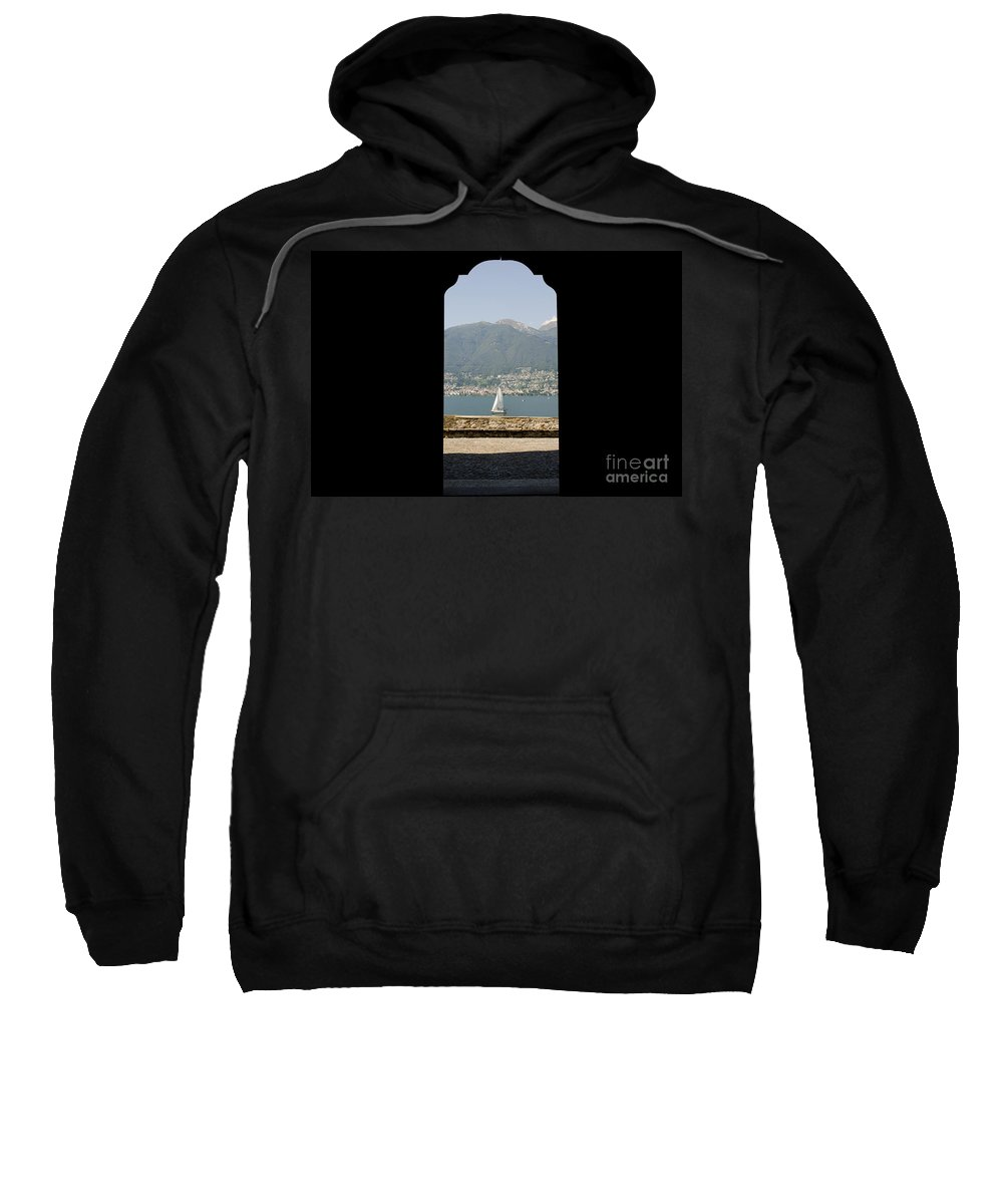 Sailing Boat Sweatshirt featuring the photograph Sailing Boat Through An Open Door by Mats Silvan