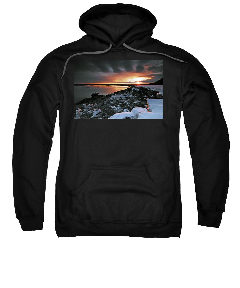 Sunset Sweatshirt featuring the photograph Sea Sculptures by Ron Day