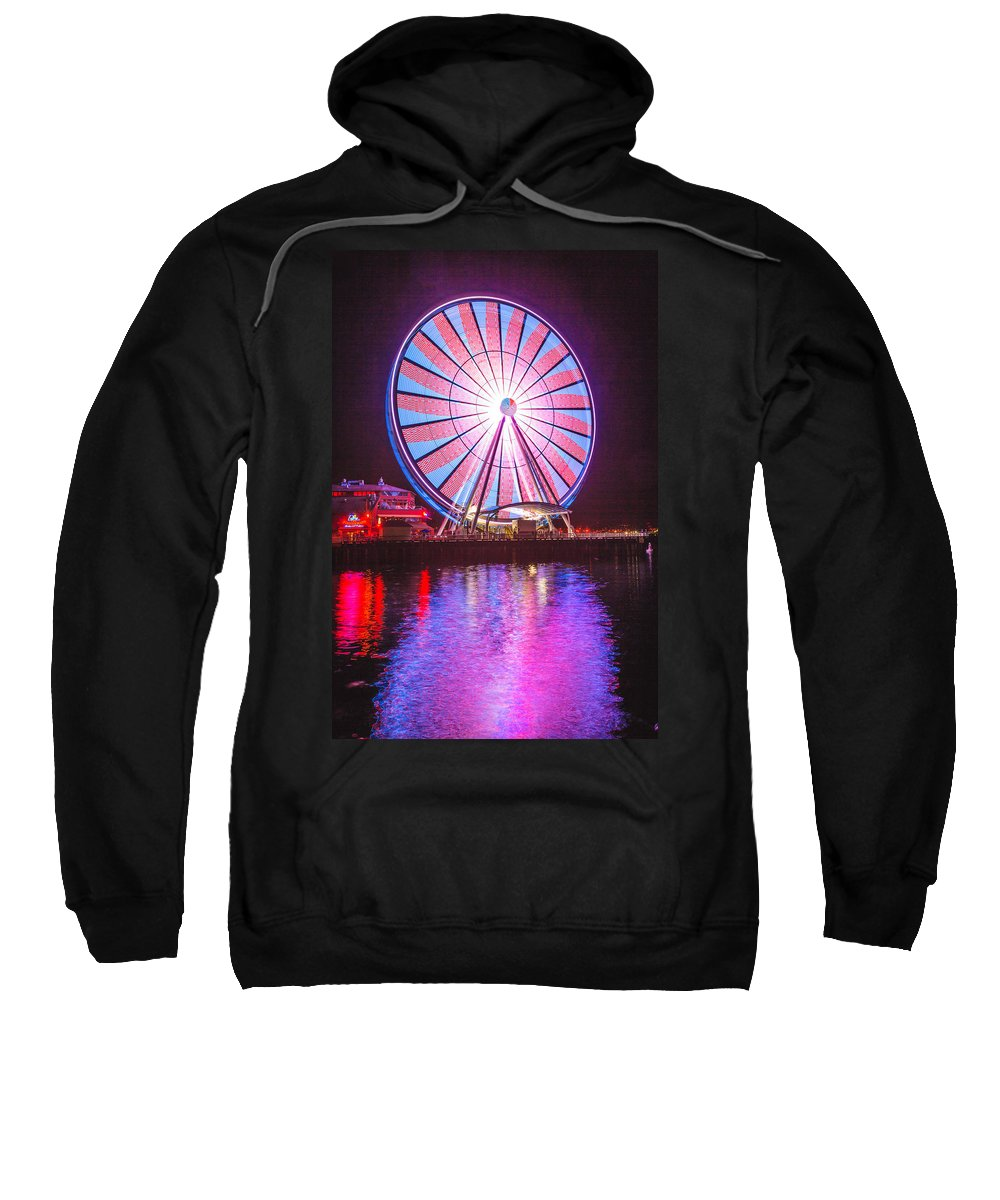 Seattle Sweatshirt featuring the photograph Seattle Great Wheel 2 by Mike Penney