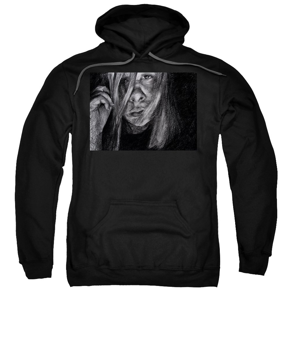 Self Portrait Sweatshirt featuring the drawing Self Portrait 2011 by Molly Picklesimer