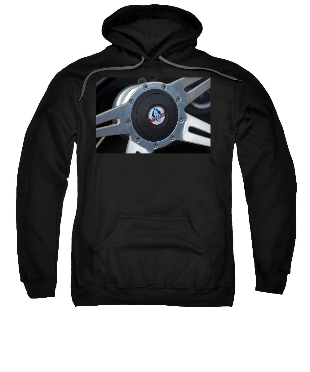 Shelby Cobra Sweatshirt featuring the photograph Shelby Cobra Steering Wheel by Jill Reger