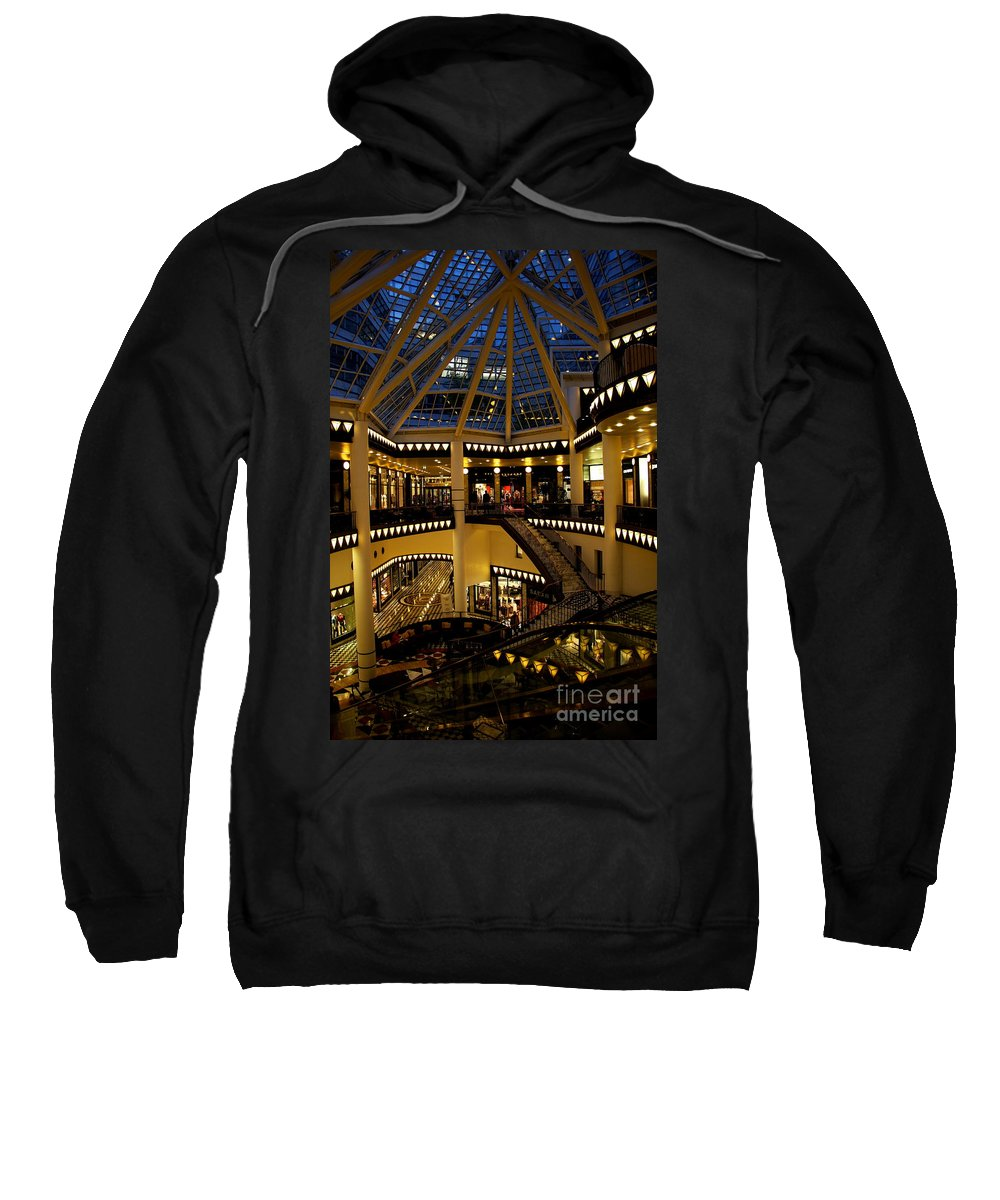 Shopping Mall Sweatshirt featuring the photograph Shopping Mall In The Evening by Christiane Schulze Art And Photography