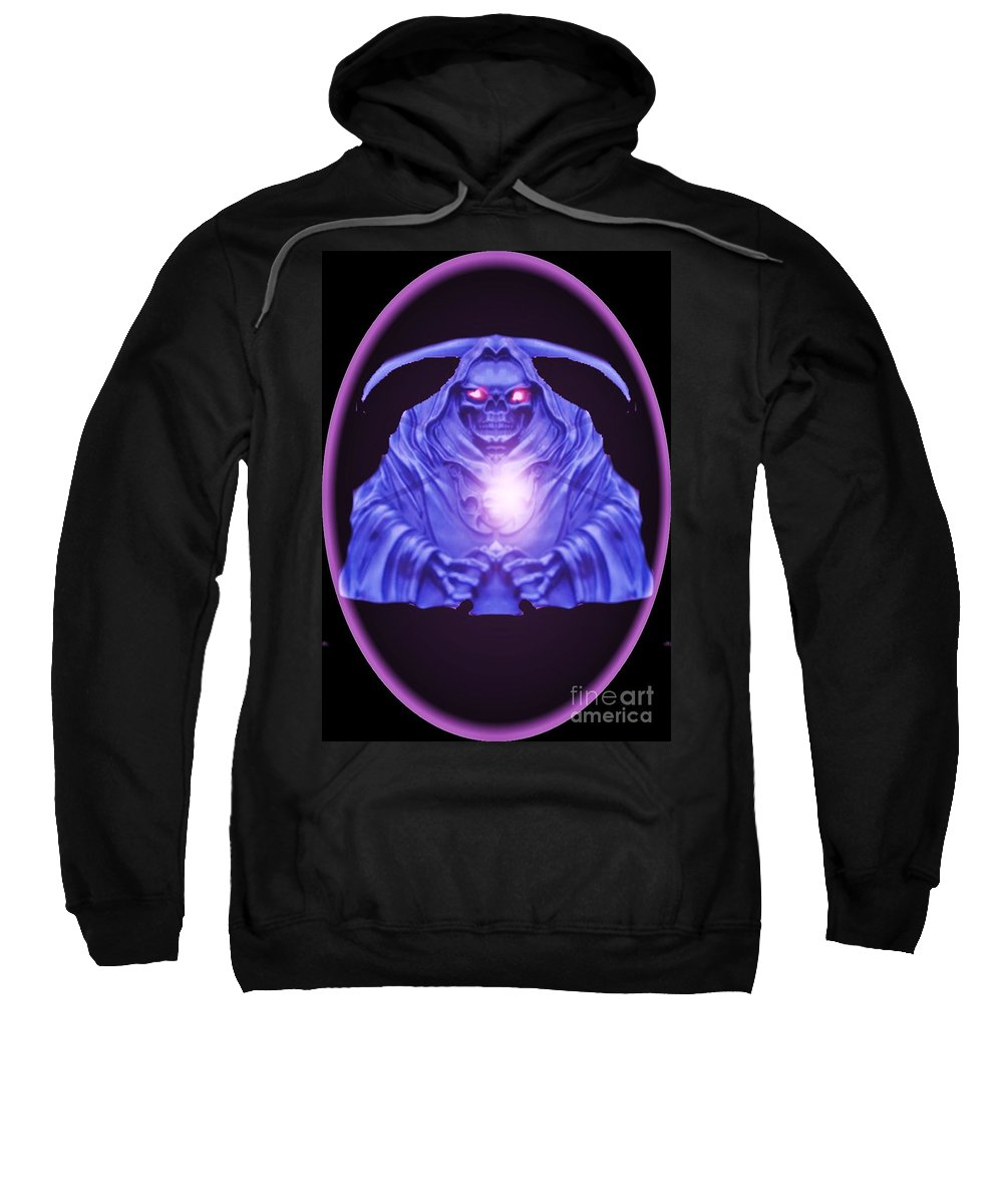 Abstract Sweatshirt featuring the digital art Skull Orb by Blair Stuart