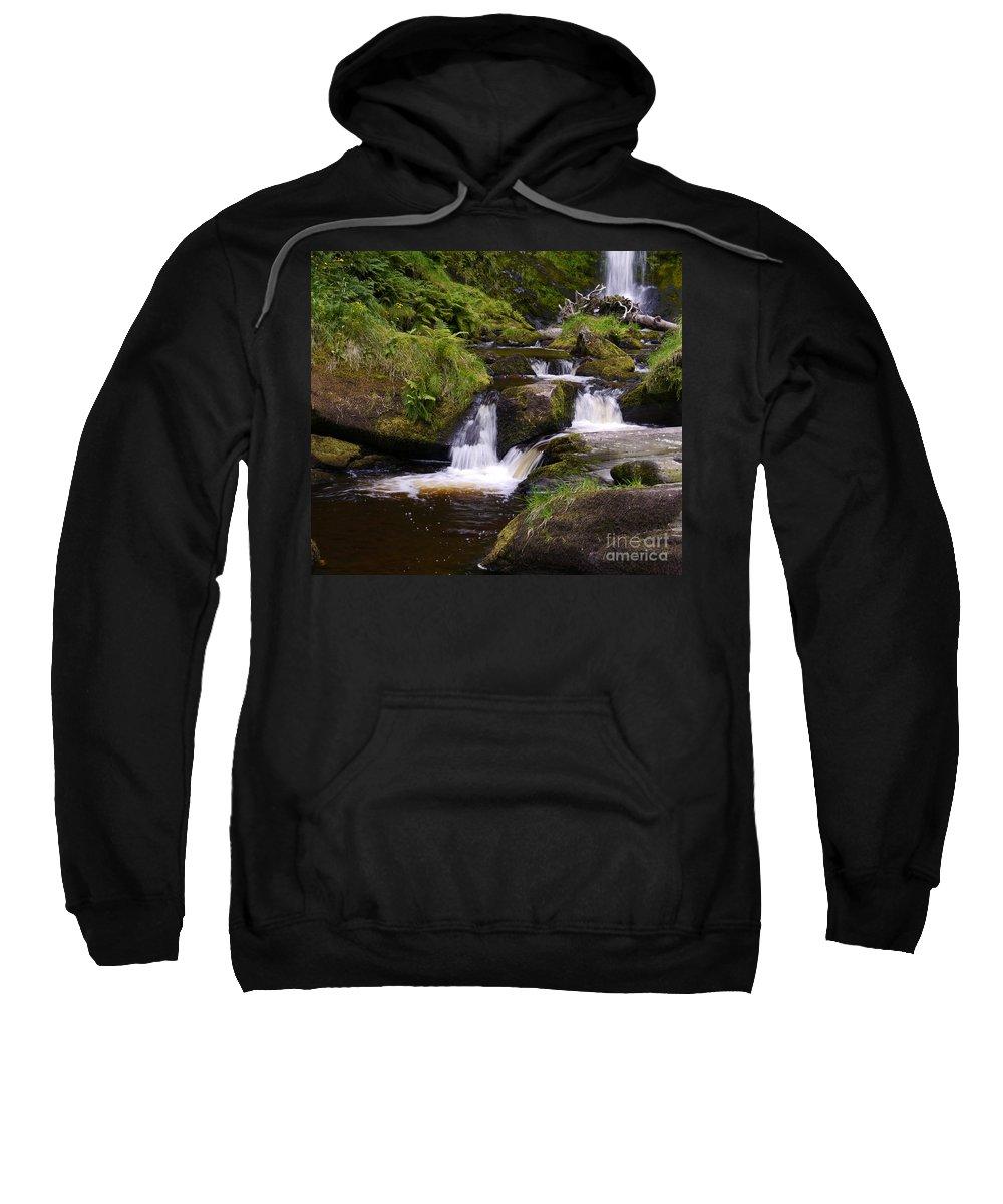 Pistyll Rhaeadr Sweatshirt featuring the photograph Small Waterfalls by John Chatterley