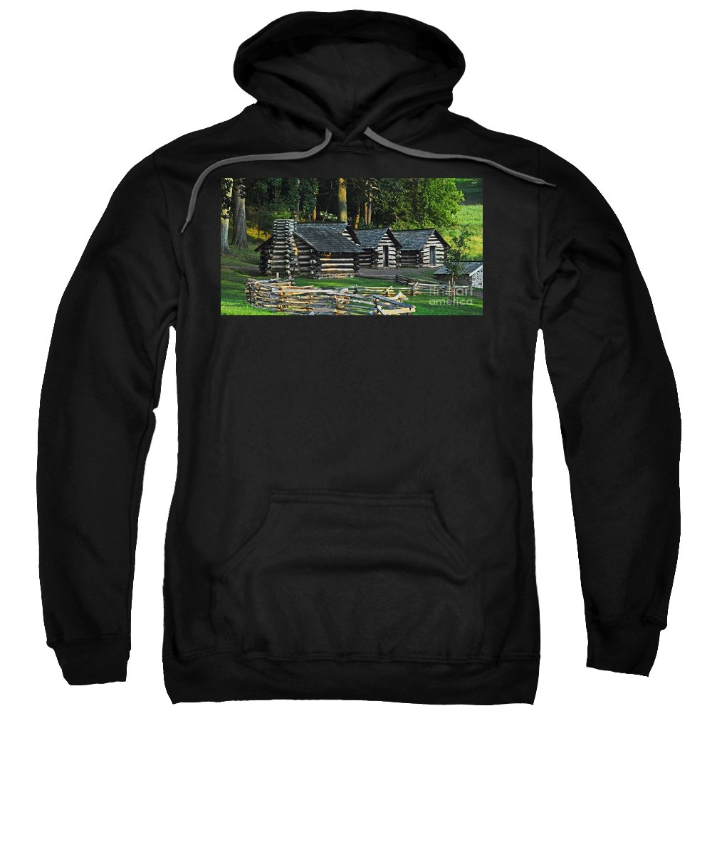 History Sweatshirt featuring the photograph Soldiers Quarters At Valley Forge by Cindy Manero
