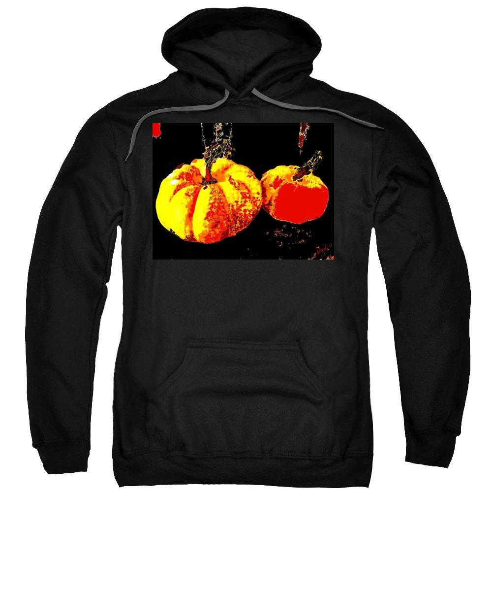 Pumpkin Sweatshirt featuring the painting Sonic Pumpkins by Renate Nadi Wesley