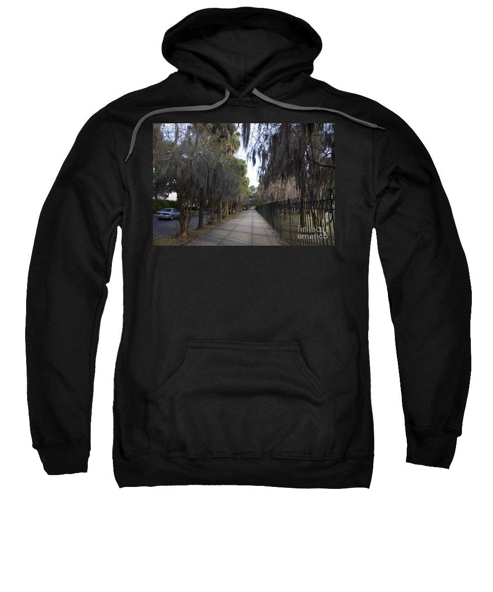 Savannah Sweatshirt featuring the photograph Spanish Moss Sidewalk by Tim Mulina