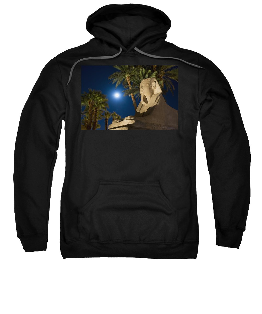Photography Sweatshirt featuring the photograph Sphinx And Date Palms With Full Moon by Axiom Photographic