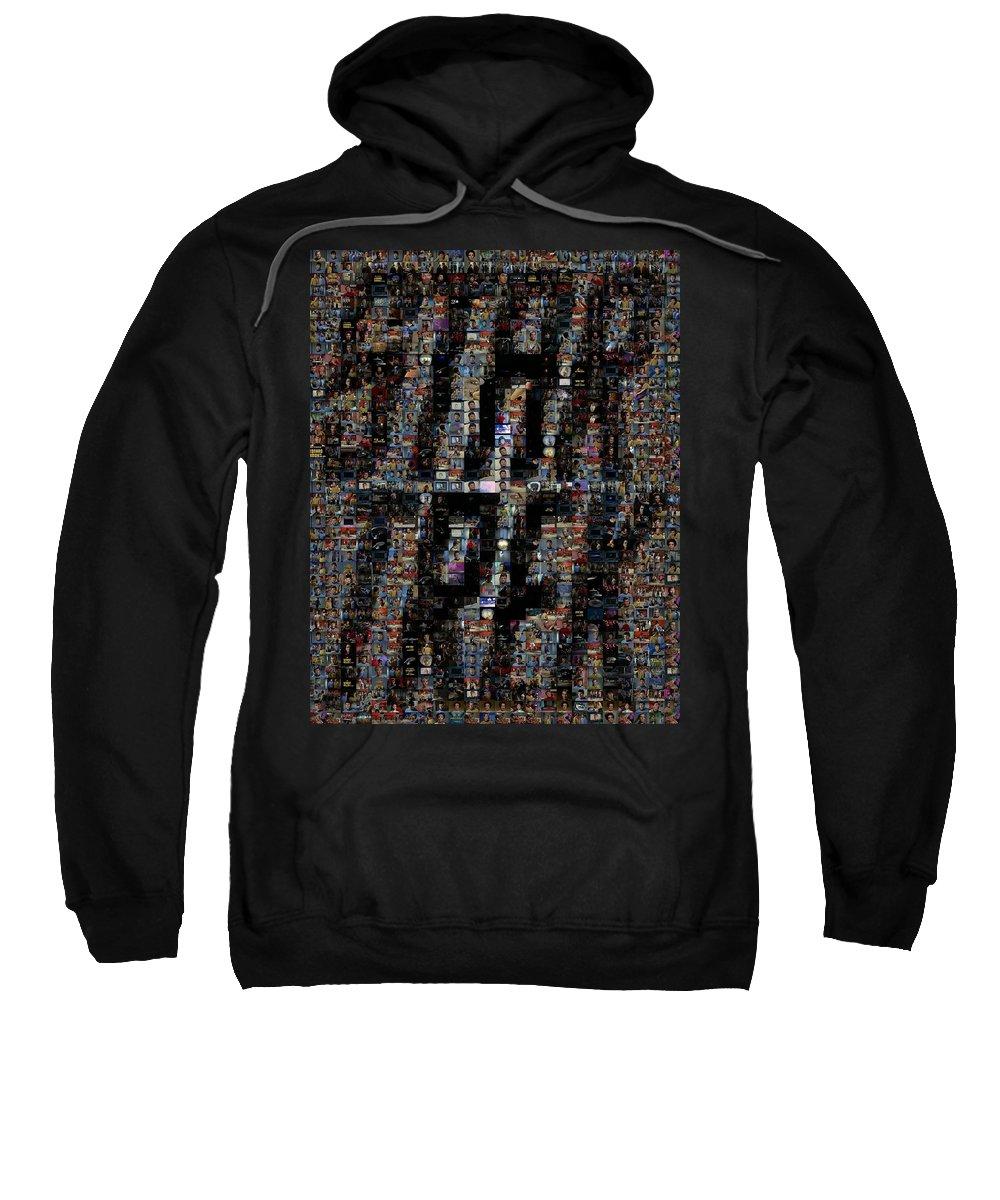 Star Trek Sweatshirt featuring the digital art Star Trek Scene Mosaic by Paul Van Scott