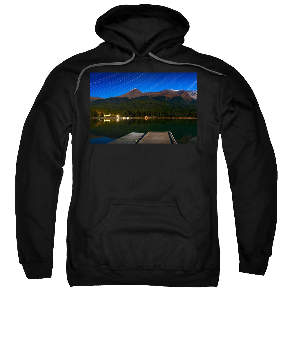 Blue Sky Sweatshirt featuring the photograph Starry Night Of Mountains And Lake by Corey Hochachka