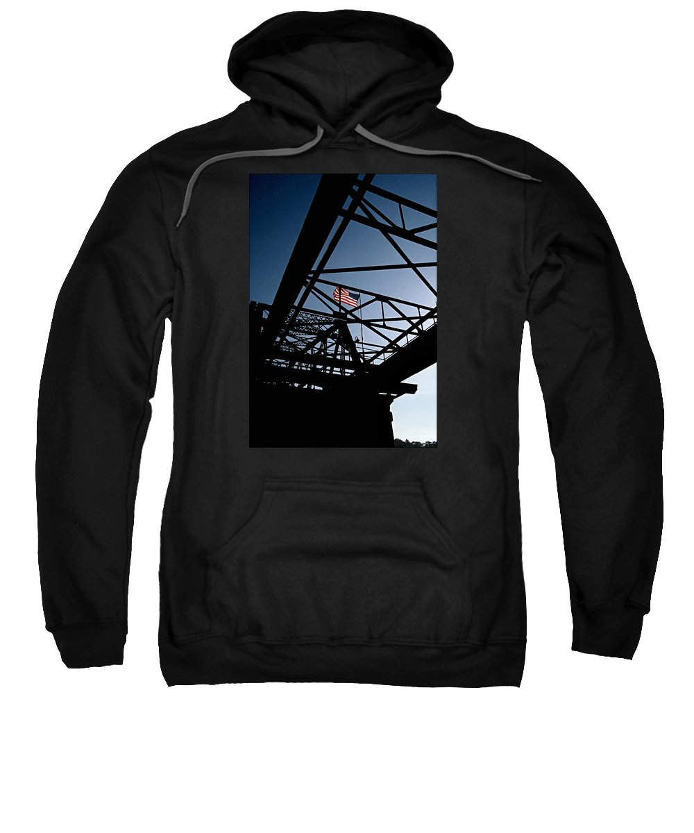Nautical Sweatshirt featuring the photograph Steel Bridge With American Flag by Gabe Palmer