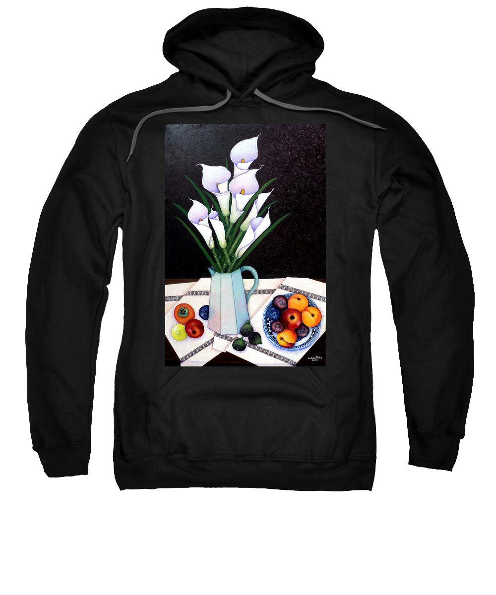 Lilium Calas Sweatshirt featuring the painting Still Life With Callas by Madalena Lobao-Tello