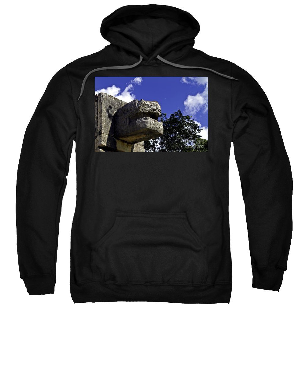 Chichen Itza Sweatshirt featuring the photograph Stone Face by Ken Frischkorn