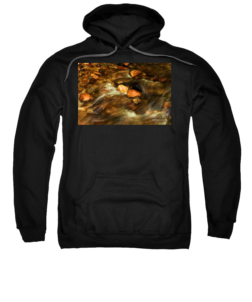 Stone Mountain State Park Sweatshirt featuring the photograph Stone Mountain River Rocks by Adam Jewell