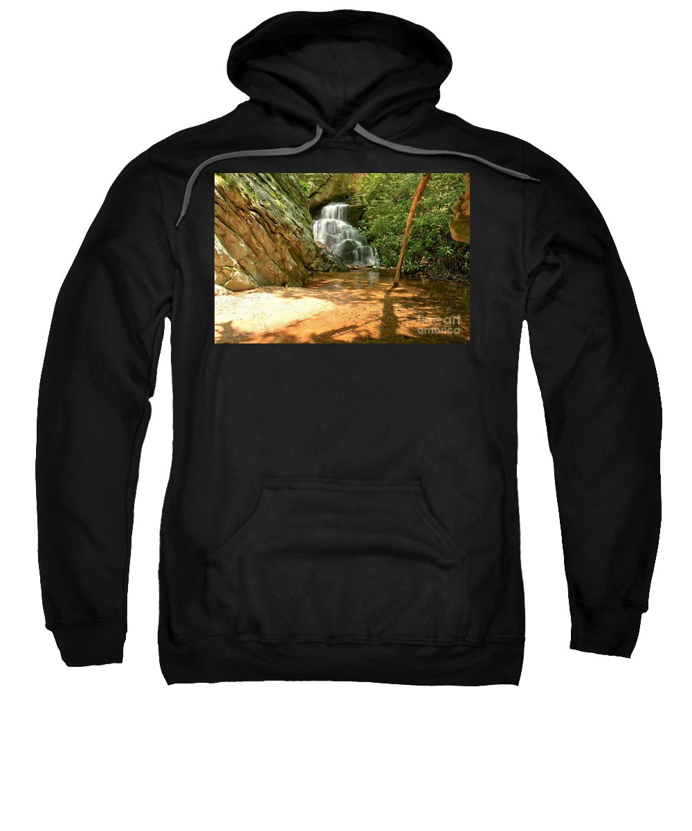 Hanging Rock State Park Sweatshirt featuring the photograph Stream To The Falls by Adam Jewell