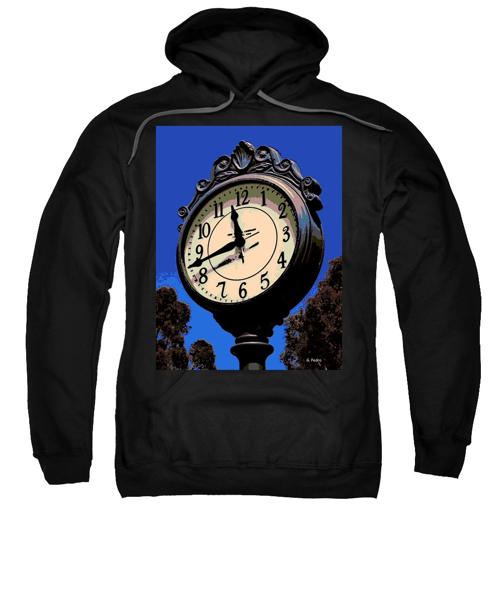 Street Clock Sweatshirt featuring the photograph Street Time by George Pedro