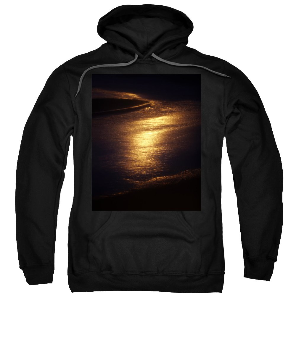 Absence Sweatshirt featuring the photograph Gold Water On The Street by Skip Nall