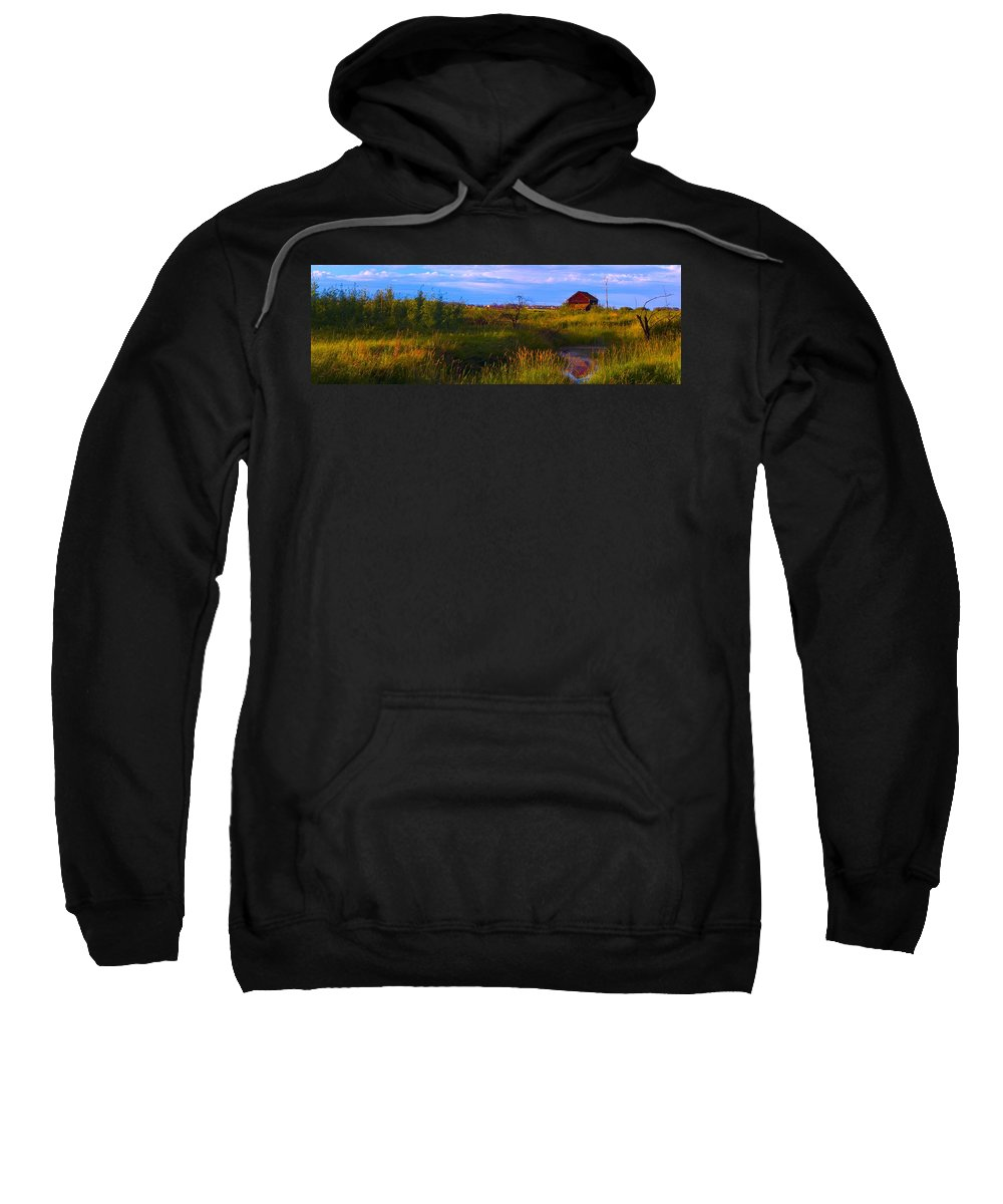 Structure Sweatshirt featuring the photograph Summer Shot Of Old Shack By Creek, St by Corey Hochachka