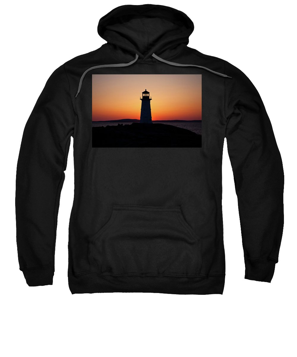 Lighthouse Sweatshirt featuring the photograph Sunset At Peggy's Cove by Bill Lindsay