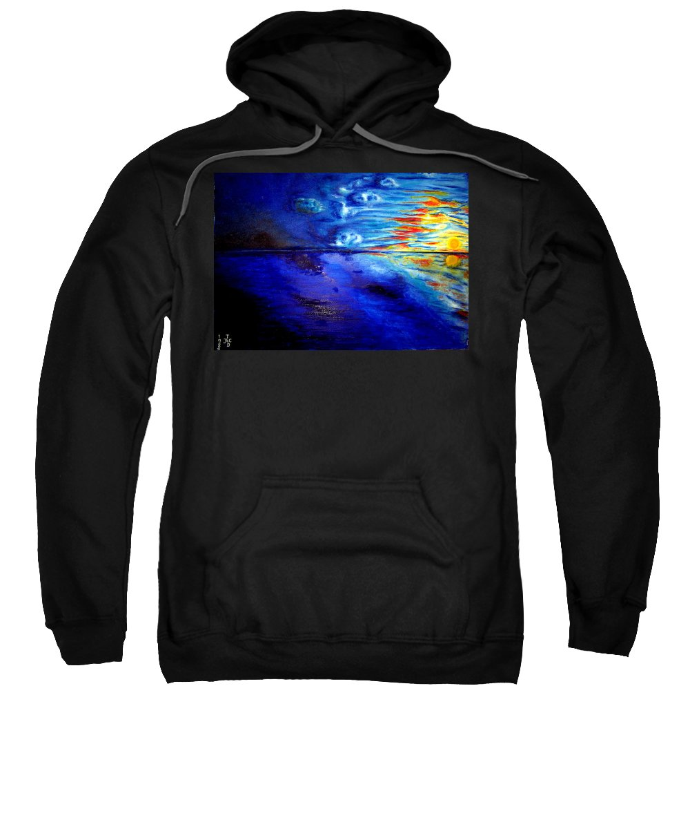 Sunset At Sea By Ted Jec. Sweatshirt featuring the painting Sunset At Sea By Ted Jec. by Ted Jeczalik