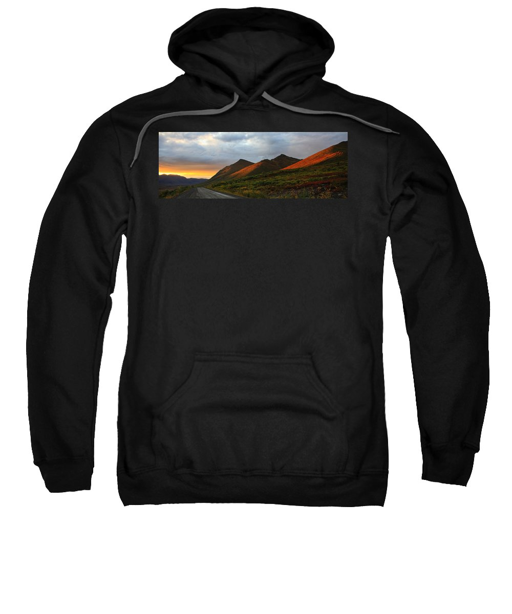 Light Sweatshirt featuring the photograph Sunset Light Hitting The Mountains by Robert Postma