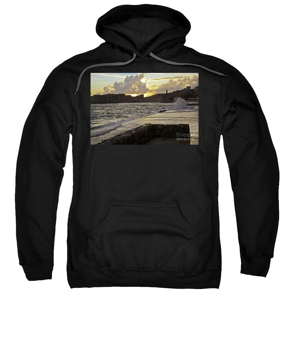Sun Sweatshirt featuring the photograph Sunset Over Dubrovnik 2 by Madeline Ellis