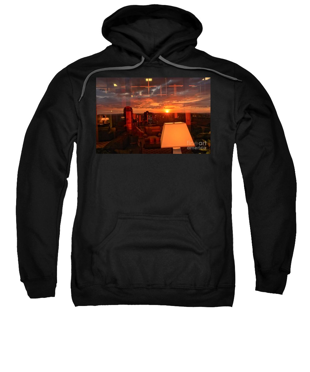 Mckeever Lodge Sunset Sweatshirt featuring the photograph Sunset Reflections by Adam Jewell