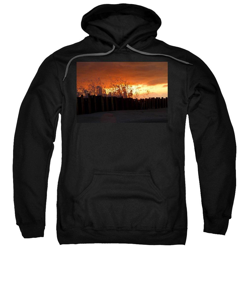 Sun Sweatshirt featuring the photograph Sunset Splash 4 by Bill Lindsay