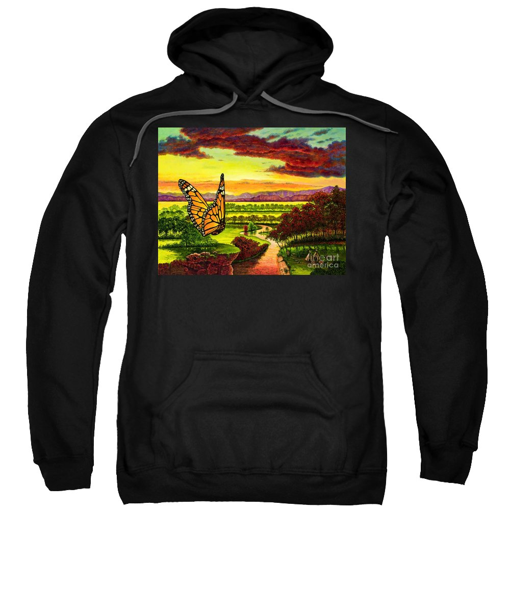 Butterfly Sweatshirt featuring the painting Sunshine Traveler-monarch by Michael Frank